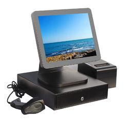 Good Quality Touch PC POS & Aluminium Alloy Point Of Sale Touch Screen Computer With Thermal Printer And Cash Drawer on sale