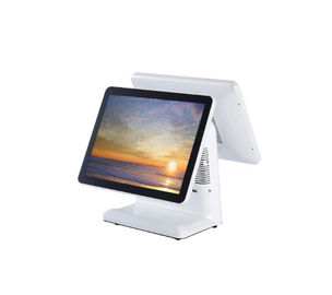 Good Quality Touch PC POS & 15 Inch Capacitive Dual Screen Pos I3 CPU White Color With Thermal Printer on sale