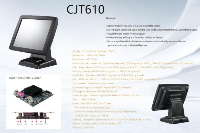 Stable Dual Core 1.8Ghz Touch Screen Pos System DDR3 - 2G With Cash Drawer