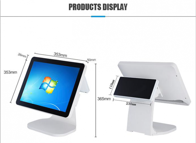 15 Inch Capacitive Dual Screen Pos I3 CPU White Color With Thermal Printer