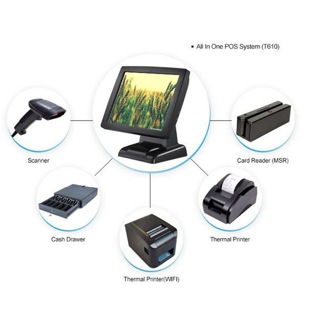 8 Digital Display Windows Based Pos System , USB X 6 Touch Screen Cash Register